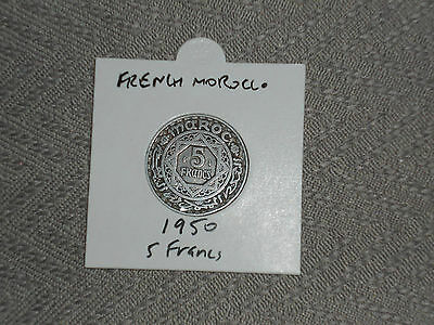 1950 French Morocco 5 francs coin Moroccan five franc