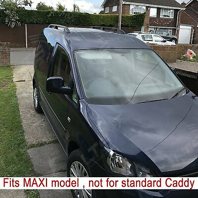 Vw Caddy Maxi Van Aluminium Roof Rail Bars Roof Racks Set Black 2010 On ( Long )
