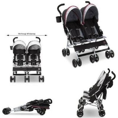 Baby Foldable Double Stroller With Sun Shade Carriage Toddler Twin Strollers