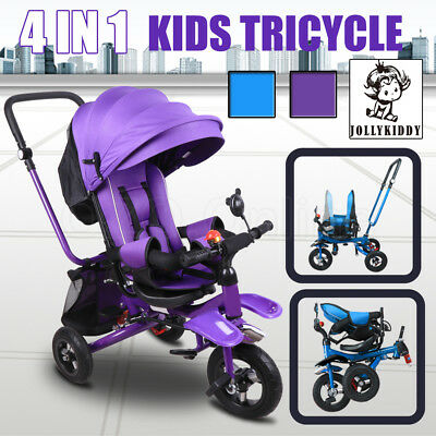 JOLLYKIDDY 4 IN 1 Ride-On Toys Kid Toddlers Tricycle Bike Trike Stroller Safety
