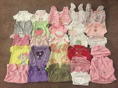 25 PIECE USED BABY GIRL 3-6 MONTHS Fall WINTER CLOTHES LOT | 19 OUTFITS