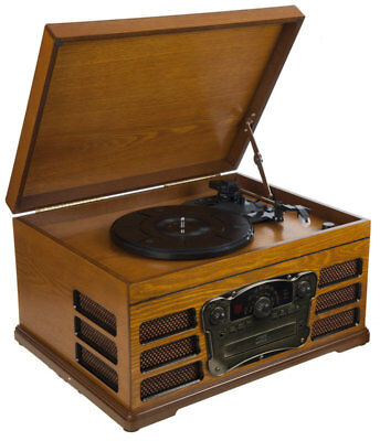 Wooden Retro Turntable with Built in CD Player FM Radio and USB SD Card Reader