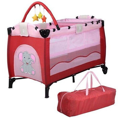 New Baby Crib Playpen Playard Pack Travel Infant Bassinet Bed Foldable Pink