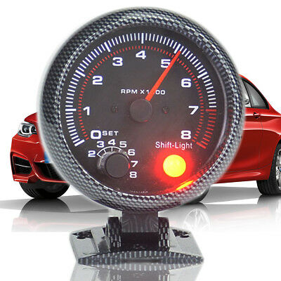 Universal Vehicle 12V 3.75'' Tachometer Tacho Gauge W/ Shift Light 0-8000RPM