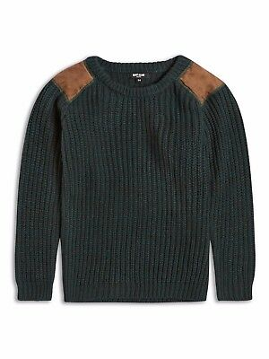 New Boys Riot Club England Green Tan Army Style Winter Jumper Age 8-14 Years