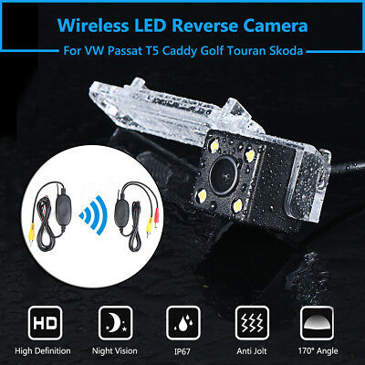 Wireless 4 LED Reverse Rear Camera For VW Golf Polo Passat T5 Touran Caddy Skoda