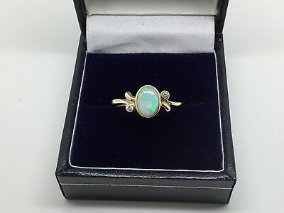 9ct YELLOW GOLD, WHITE OPAL AND DIAMOND RING SIZE 'M'