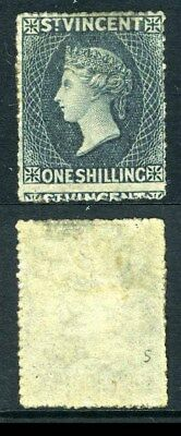 ST VINCENT-1866 1/- Slate Grey mounted mint  Perf 14-16 with NO WMK  Sg 9