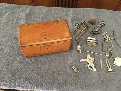 Antique Tiger Oak Folding Puzzle Sewing Box - Singer Sewing Machine Attachments
