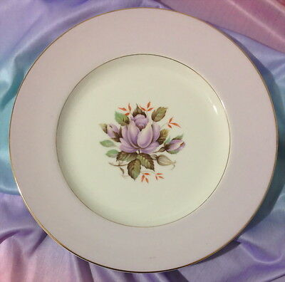 ♡  Rare Crown Ducal Rosetta Violet Plate Purple Centre Flower Stunning