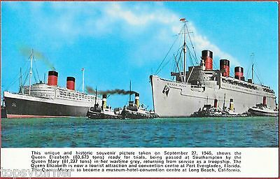 RMS Queen Mary In WW2 War Colours Passing RMS Queen Elizabeth. Southampton 1946.