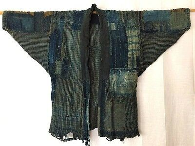 丸屋 Japanese Antique Beautiful Boro Indigo Dyed Cotton Sashiko Patched Noragi