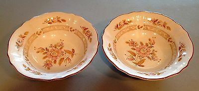 """2 Wicker Rose Ironstone Oven Proof Serving Bowls Approx. 9 1/2"""" X 2 5/8"""""""