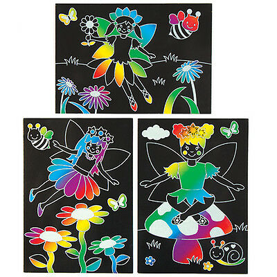 6 Fairy Scratch Art Pictures for Children to Make Creative Spring Kids Craft Set
