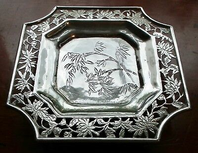 Good 19Th Century Chinese Export Silver Footed Tray