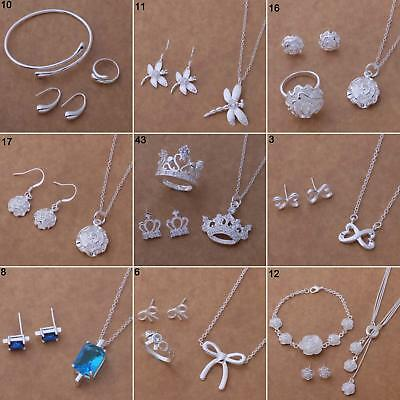 Silver Plated Bangle/Necklace/Bracelet /Earring/Ring Women's Jewelry Set Great