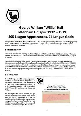 Willie Hall Tottenham Hotspur 1932-1939 Very Rare Original Hand Signed Cutting
