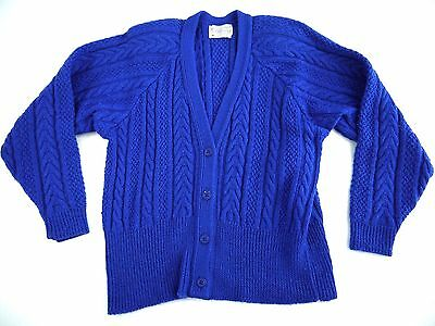 VINTAGE PENDLETON womens CABLE KNIT cardigan WOOL sweater S made in USA blue