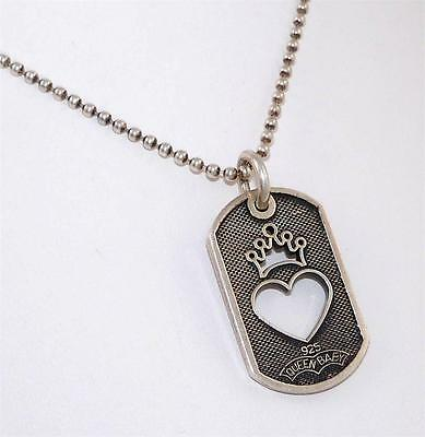 Queen Baby Sterling Silver Heart Crown Dog Tag Pendant Box Chain Necklace 17.5""