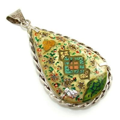 Chinese Polo Vintage Antique Sterling Silver Hand MOP Painted Pendant LDB13