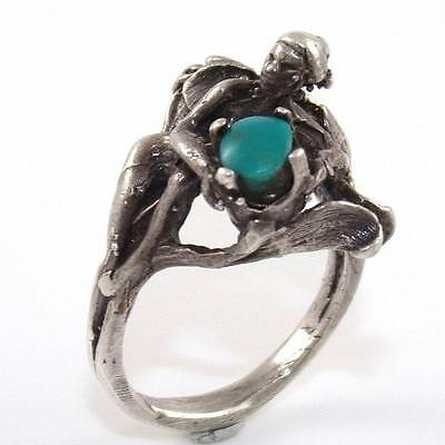 Vintage Antique Oriental Chinese Jade Nude Lady Erotica Ring Size 6