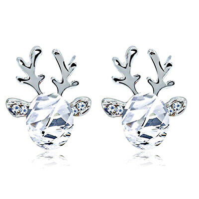 Beautiful Snowy White and Silver Deer Stud Earrings Great as Christmas E1265