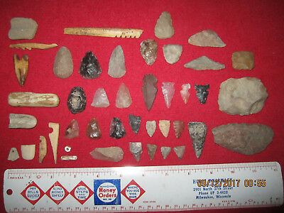 "Nice Group Of Prehistoric Native Artifacts ("" Swan Creek Site "", South Dakota )"