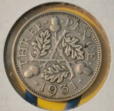 1931 UK 3 PENCE - NICE details 85 yr old interesting issue free ship US