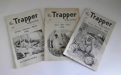 The Trapper Magazine 1958 #'s 1,2&3 Hawbaker Fort Loudon PA Vintage Trap Hunting