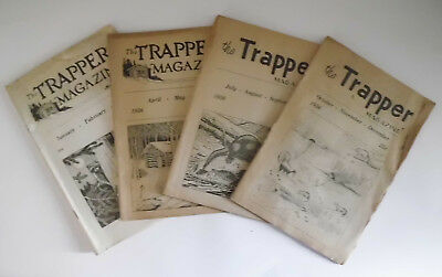 The Trapper Magazine 1956 1,2,3 & 4 Hawbaker Fort Loudon PA Vintage Trap Hunting