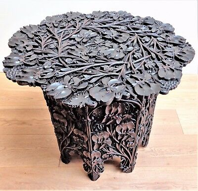 Antique Carved Table Relief Iris & Grape Vine Design North Indian Walnut 19th C