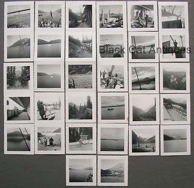 Original Vintage Lot Of 32 Small B&W 1950's BC & Alberta Boat Tour Photos