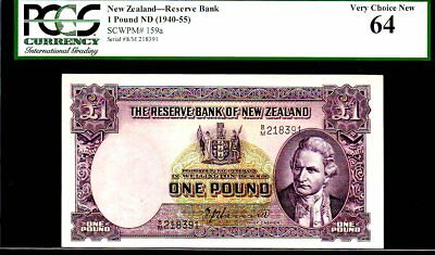 "NEW ZEALAND P159a 1 POUND ""CAPTIAN COOK!"" 1940-55ND PCGS 64"