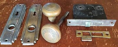 Old Antique Vtg Brass Door Handle Knob Backplate Lock Latch Sargent Usa  Set