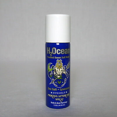 H2OCEAN Natural 1.5 Oz Body & Oral Piercing Aftercare Salt Water Spray New