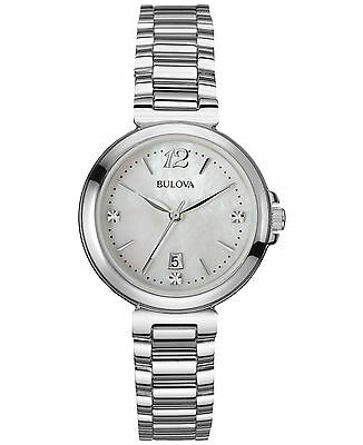 Bulova Women's 96P149 Diamond Accents Mother of Pearl Dial Silver Tone Watch
