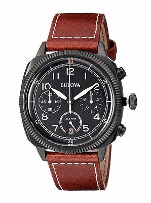 Bulova Military Men's 98B245 Chronograph Quartz Brown Leather Strap 42.5mm Watch