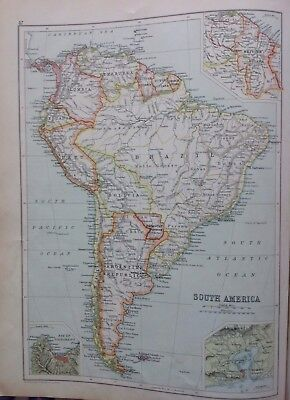 South America, C1892 Antique Map,bartholomew, Century Atlas, Orignal