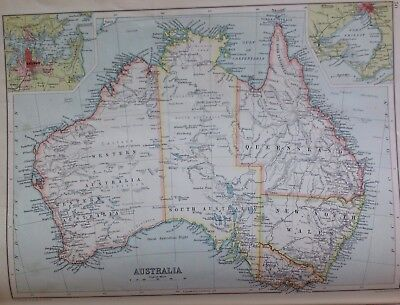 Australia, C1892 Antique Map,bartholomew, Century Atlas, Orignal
