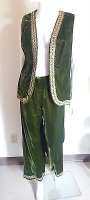 Vintage 1970s Womens Green Hippy Embroidered Velvet Gypsy Pants Suit Size XS/S