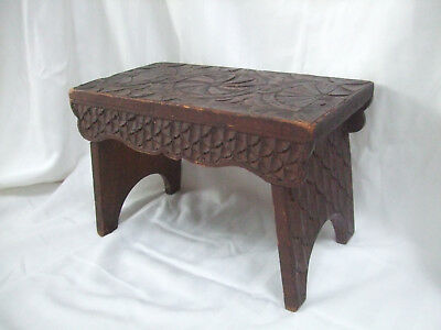 Wooden Foot Stool with Medieval or Tudor Style Carvings - Unique