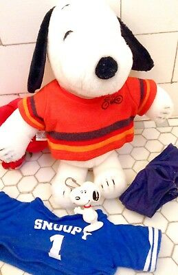 """Vintage Snoopy LOT 60s 70s Stuffed Animal CLOTHING Plush Tag + Toy Pull VGC 11"""""""