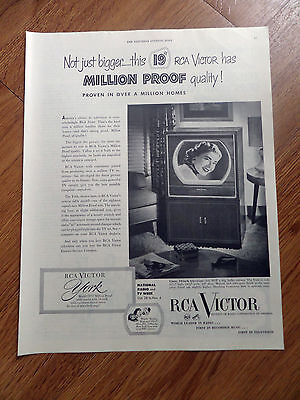 1950 RCA Victor TV Television Ad   York
