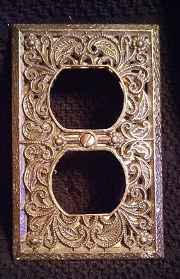 Vintage Ornate Floral Filigree  Brass Double Outlet Plate Cover