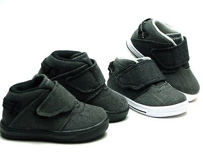 New Baby Toddler And Youth Kids Mid Top Canvas Shoes Easy On Off Strap Skater