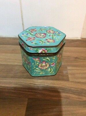 Chinese Blue Cloisonné Lidded Box With Pink Flowers