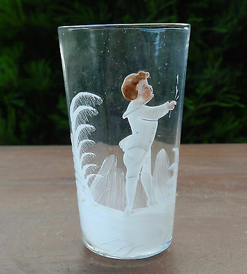 Antique Mary Gregory Clear Glass Tumber with Young Boy