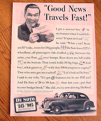 1940 De Soto DeLuxe Coupe Ad Good News Travels Fast!