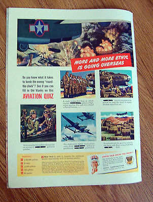 1944 Ethyl Gasoline Ad    WW II Theme  Aviation Quiz
