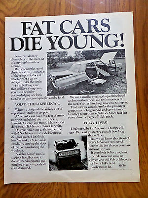 1970 Volvo Ad  Fat Cars Die Young!
